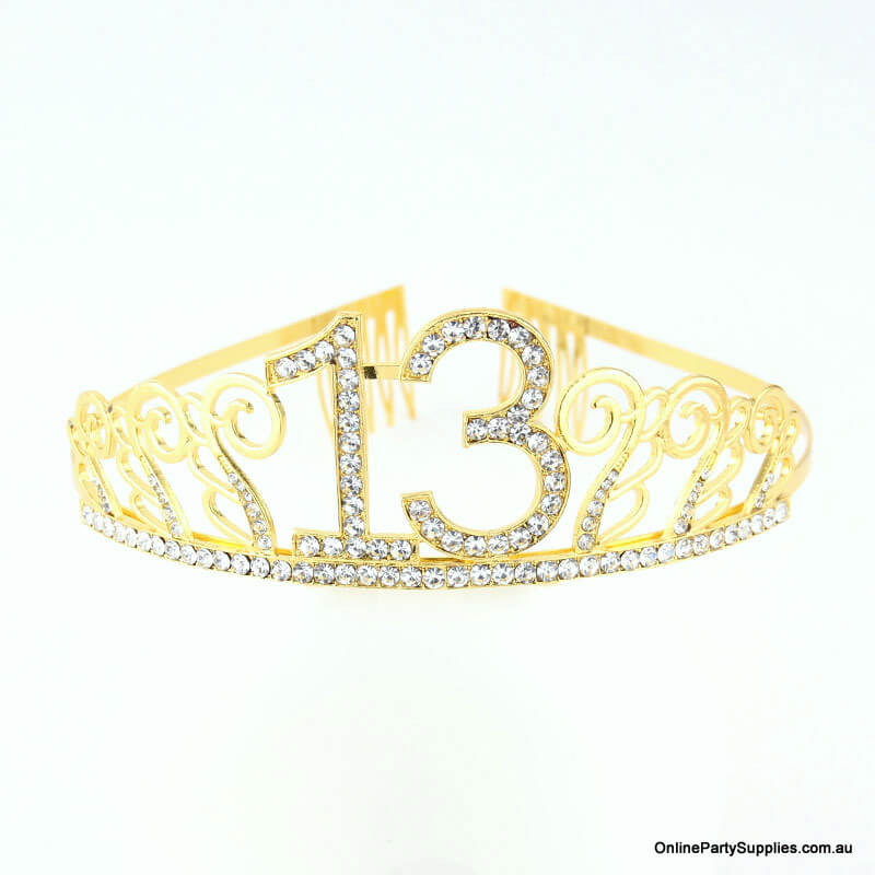 Gold Metal Rhinestone Happy 13th Birthday Tiara