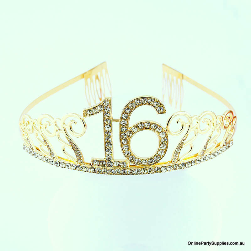 Gold Metal Rhinestone Happy 16th Birthday Tiara