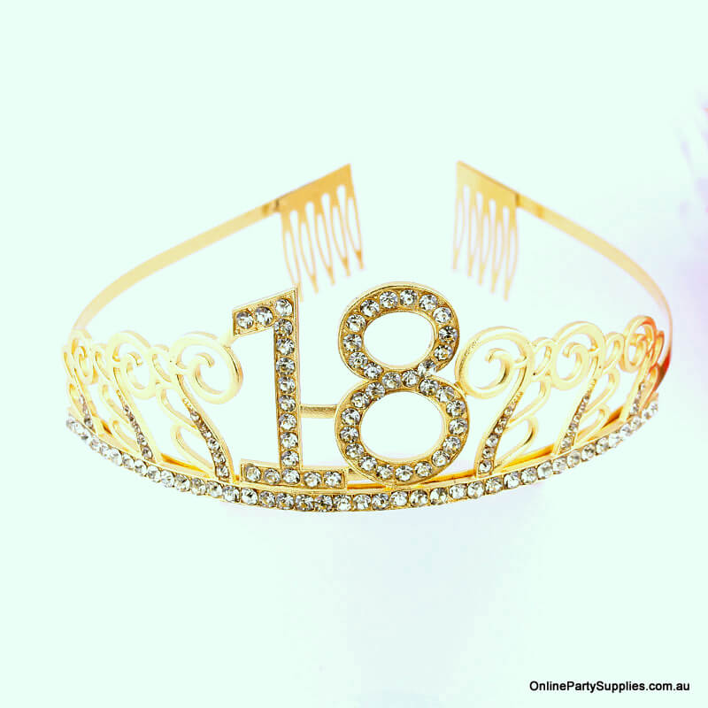 Gold Metal Rhinestone Happy 18th Birthday Tiara