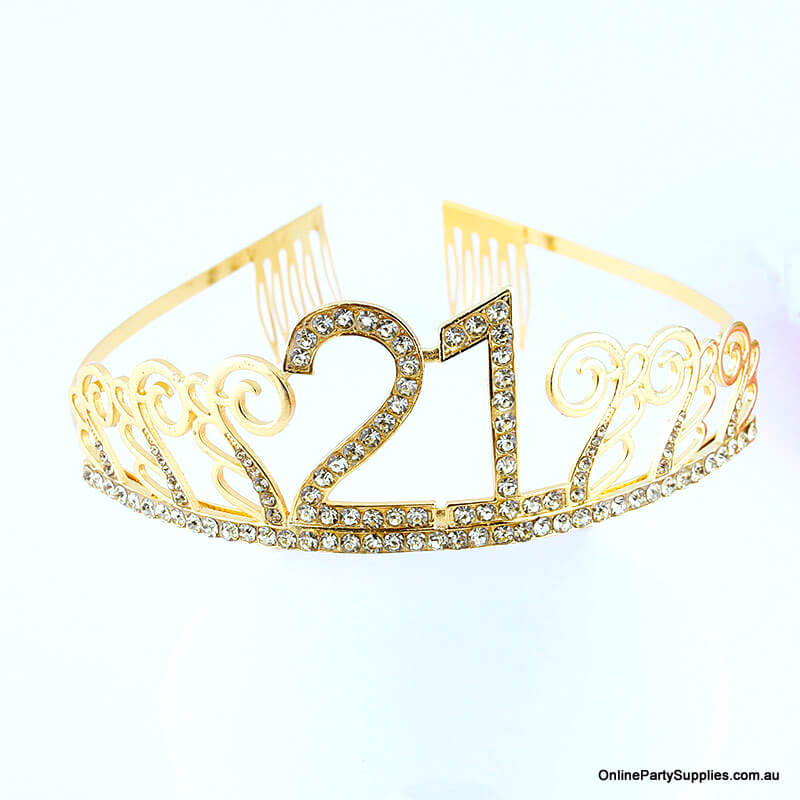 Gold Metal Rhinestone Happy 21st Birthday Tiara