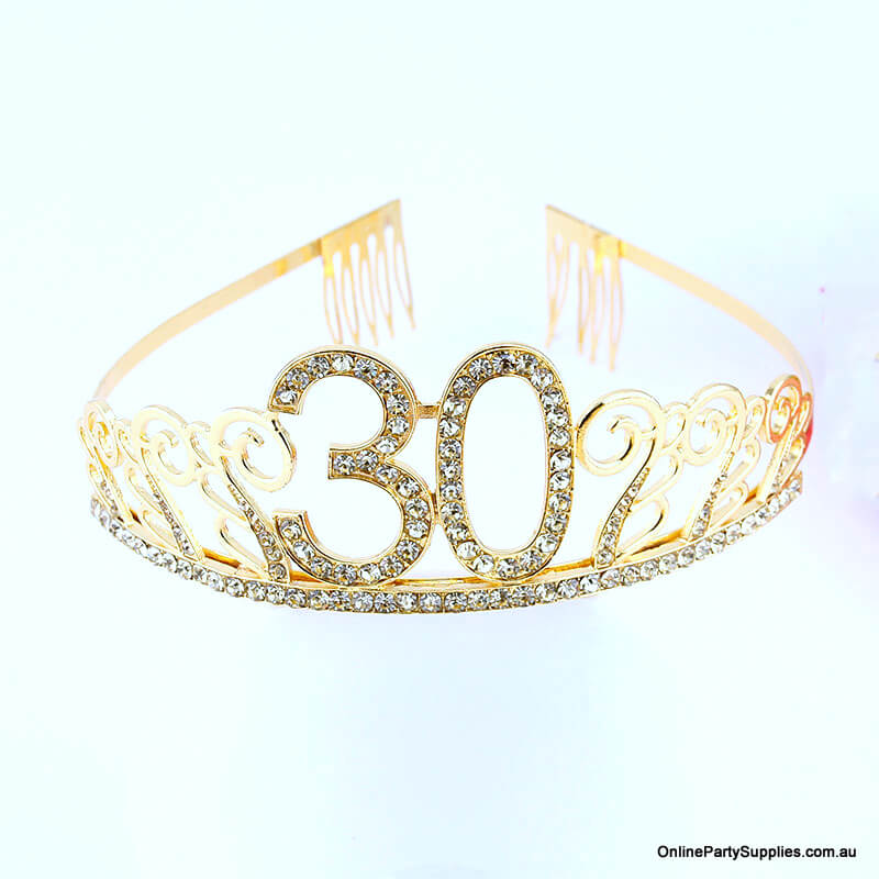 Gold Metal Rhinestone Happy 30th Birthday Tiara