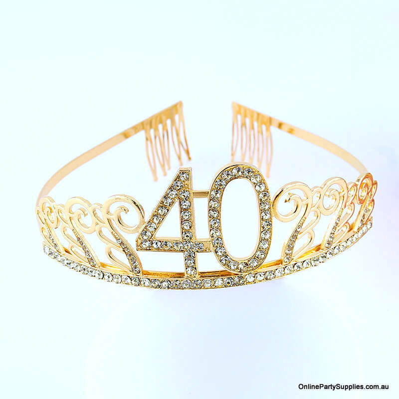 Gold Metal Rhinestone Happy 40th Birthday Tiara