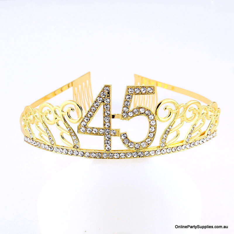 Gold Metal Rhinestone Happy 45th Birthday Tiara
