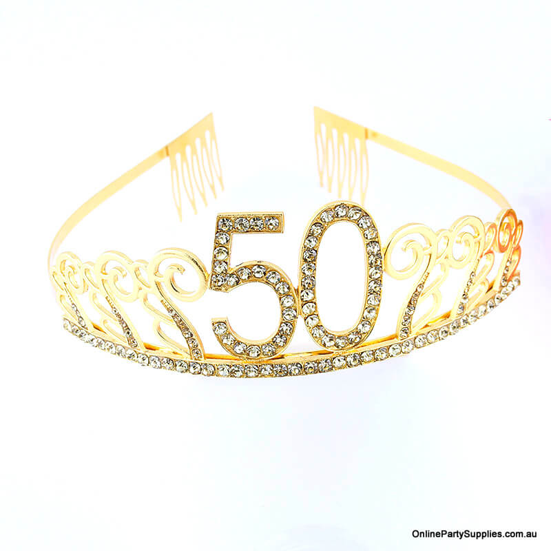 Gold Metal Rhinestone Happy 50th Birthday Tiara