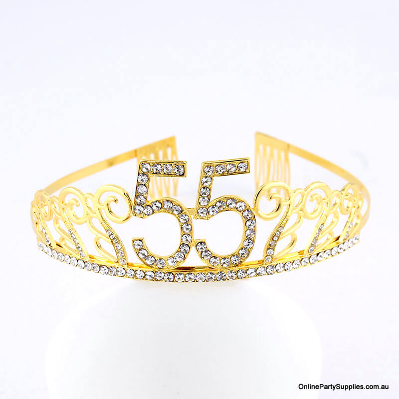 Gold Metal Rhinestone Happy 55th Birthday Tiara