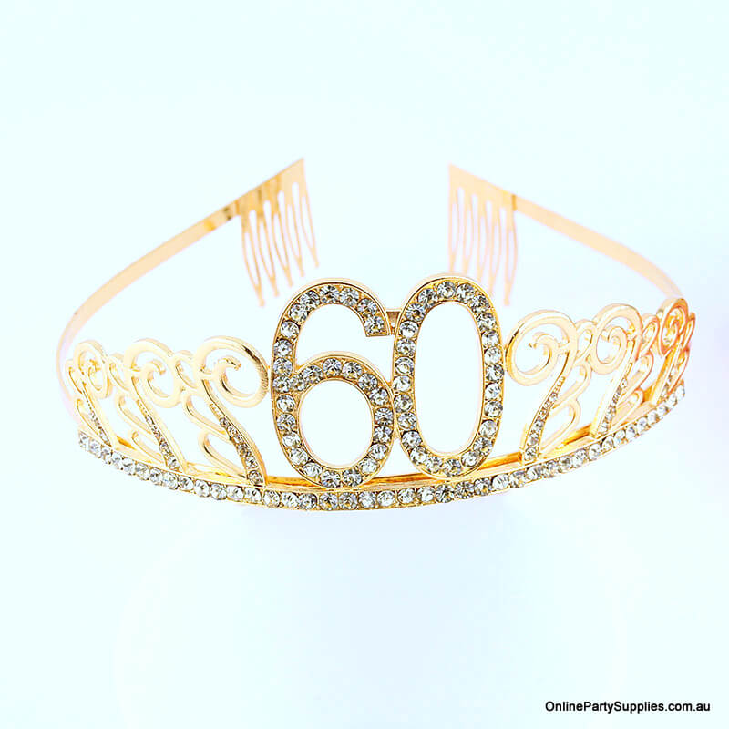 Gold Metal Rhinestone Happy 60th Birthday Tiara