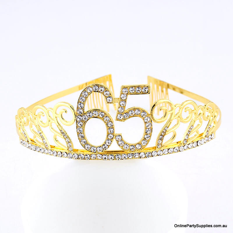 Gold Metal Rhinestone Happy 65th Birthday Tiara