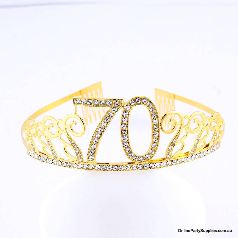 Gold Metal Rhinestone Happy 70th Birthday Tiara