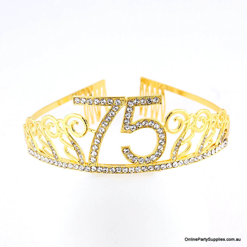 Gold Metal Rhinestone Happy 75th Birthday Tiara