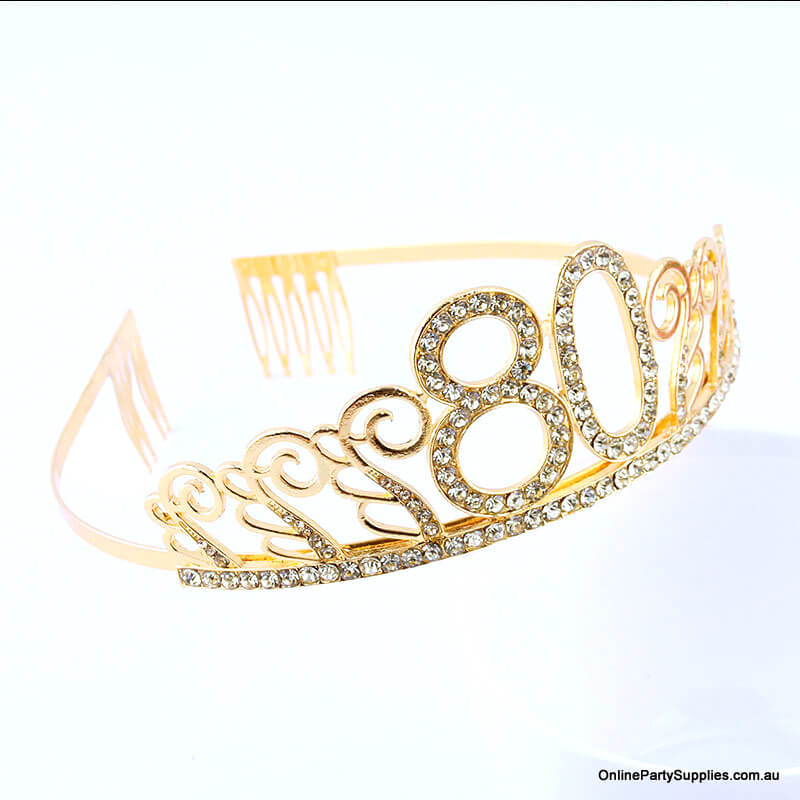 Gold Metal Rhinestone Happy 80th Birthday Tiara