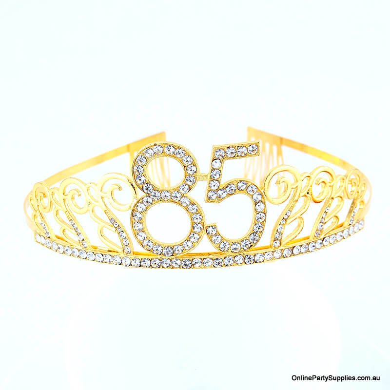 Gold Metal Rhinestone Happy 85th Birthday Tiara