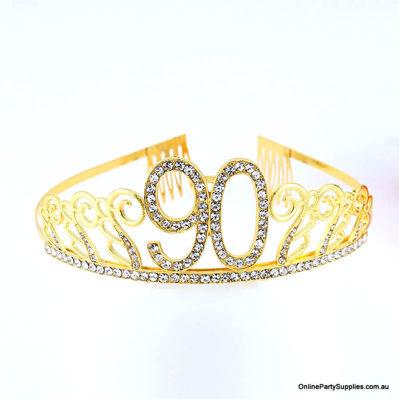 Gold Metal Rhinestone Happy 90th Birthday Tiara