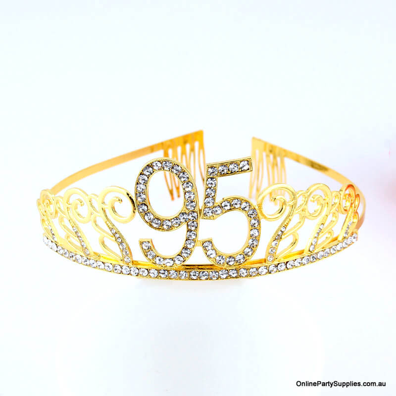 Gold Metal Rhinestone Happy 95th Birthday Tiara