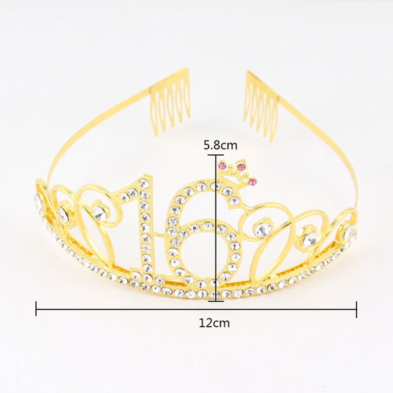 Premium Quality Gold Metal Rhinestone 16th Birthday Tiara with Princess Crown - 16th Birthday Party Decorations