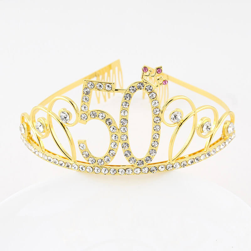 Premium Quality Gold Metal Rhinestone 50th Birthday Princess Crown Tiara