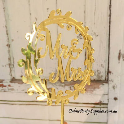 Gold mirror Acrylic Mr. and Mrs. Floral Wreath Wedding Cake Topper