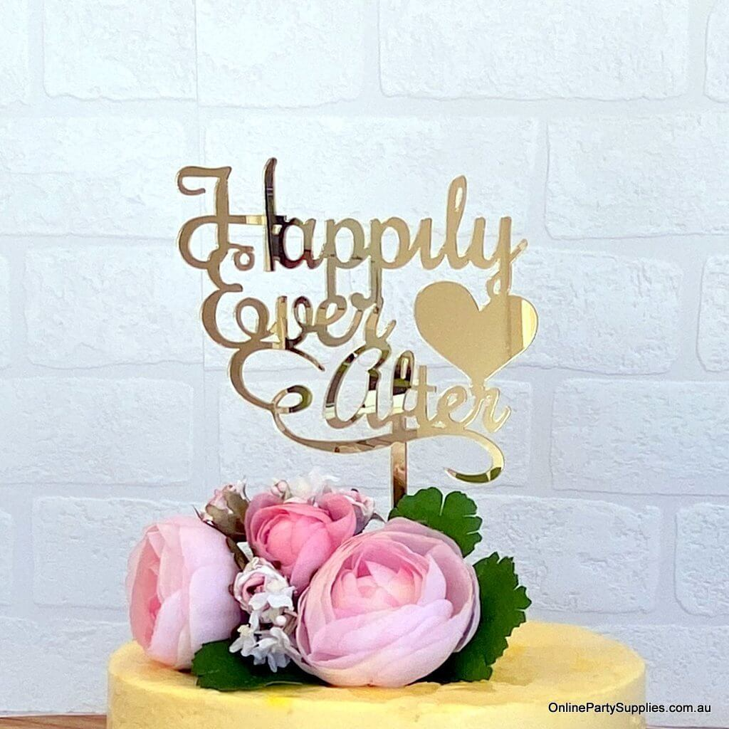 Happily Ever After Acrylic Gold Mirror Engagement Wedding Cake Topper