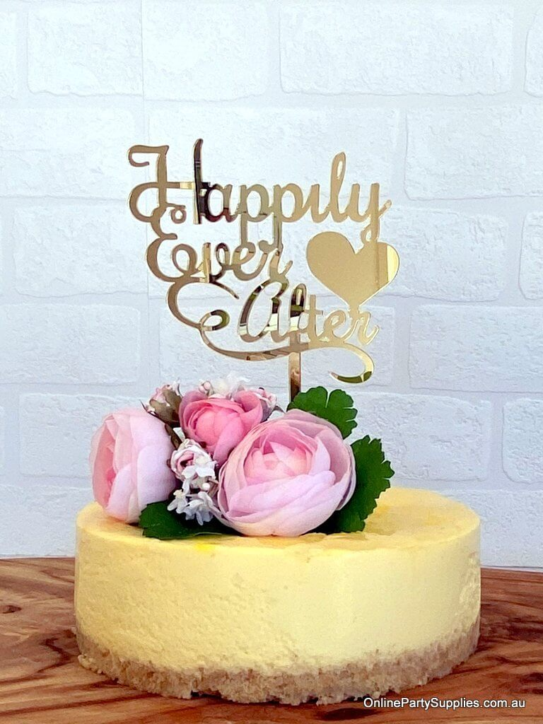 Acrylic Gold Mirror 'Happily Ever After' with Heart Wedding Cake Topper