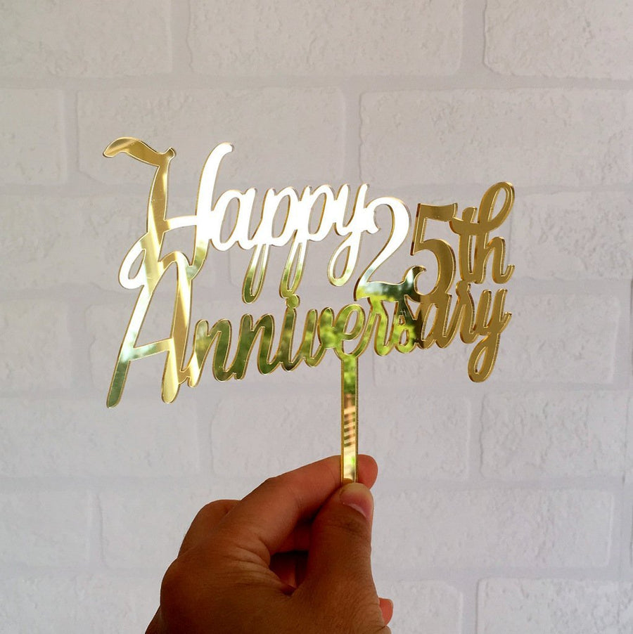 Gold Mirror Acrylic 'Happy 25th Anniversary' Cake Topper - Online Party Supplies
