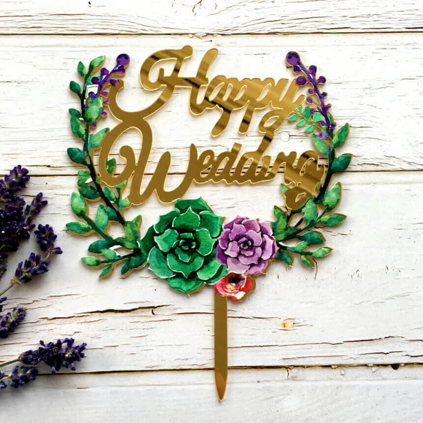 Gold Mirror Acrylic 'Happy Wedding' Floral Wreath Cake Topper