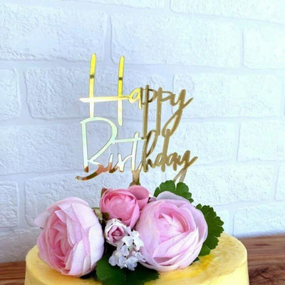 Online Party Supplies Acrylic Gold Mirror Happy Birthday Cake Topper