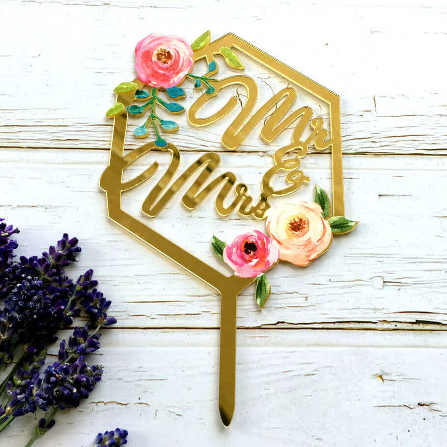 Gold Mirror Acrylic 'Mr & Mrs' Floral Geometric Hexagon Wedding Cake Topper