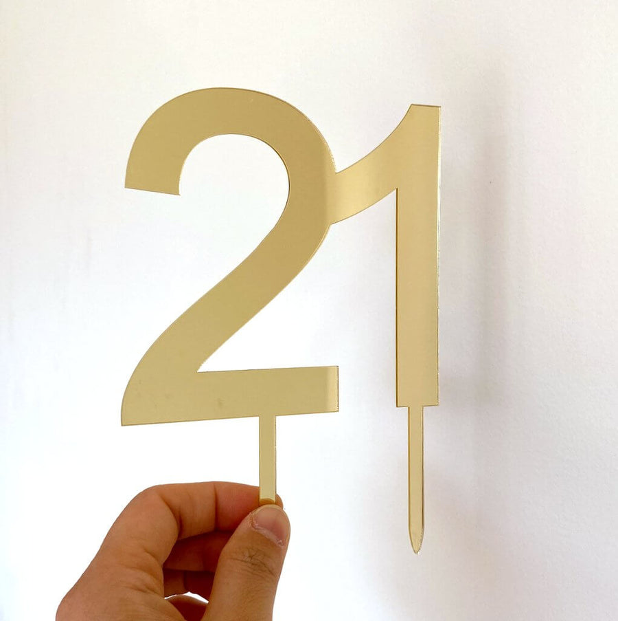 Acrylic Gold Mirror Number 21 Cake Topper