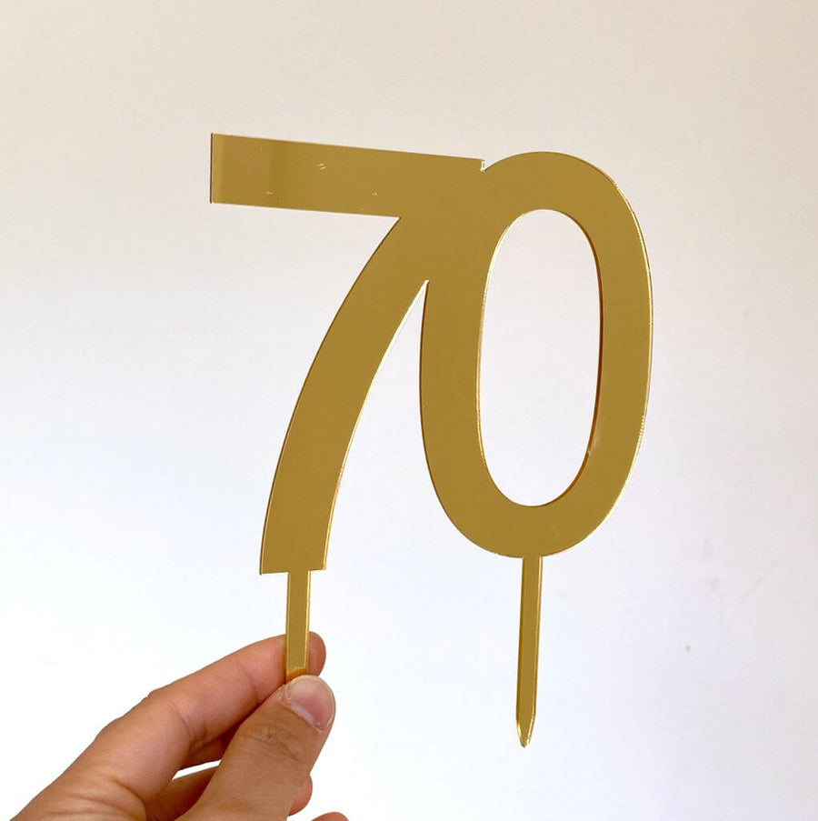 gold mirror acrylic number 70 cake toppers