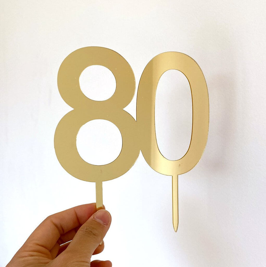 Acrylic Gold Mirror Number 80 Cake Topper