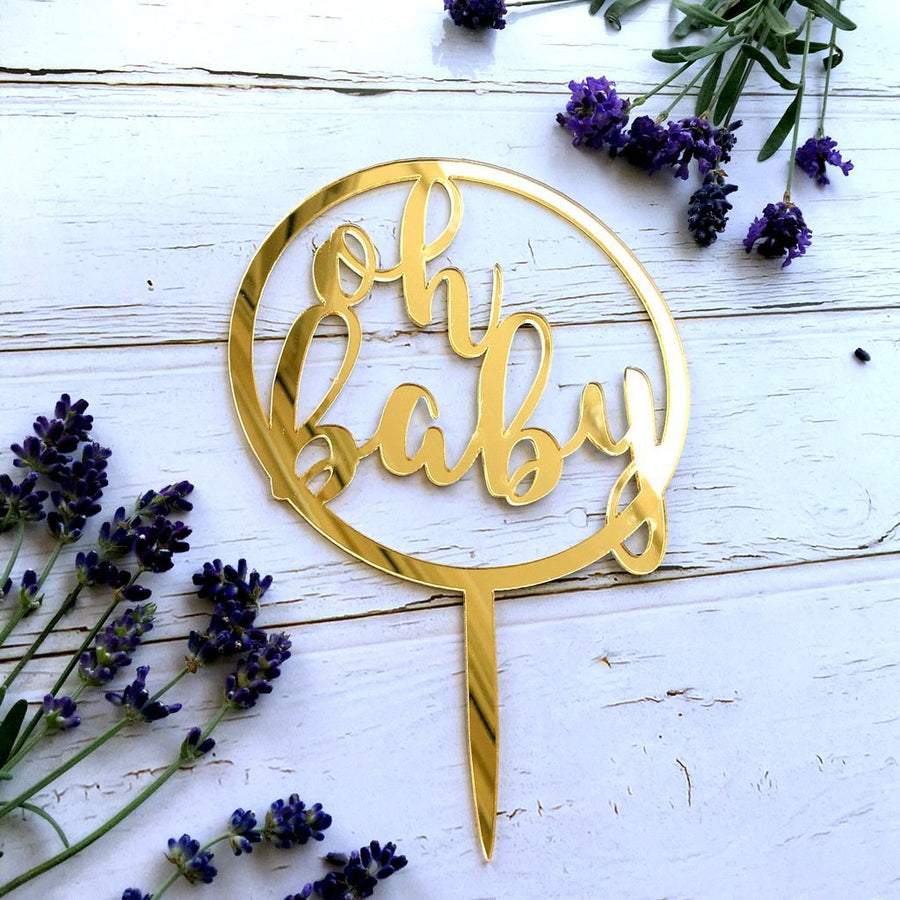Gold Mirror Acrylic Oh Baby Cake Topper - Online Party Supplies