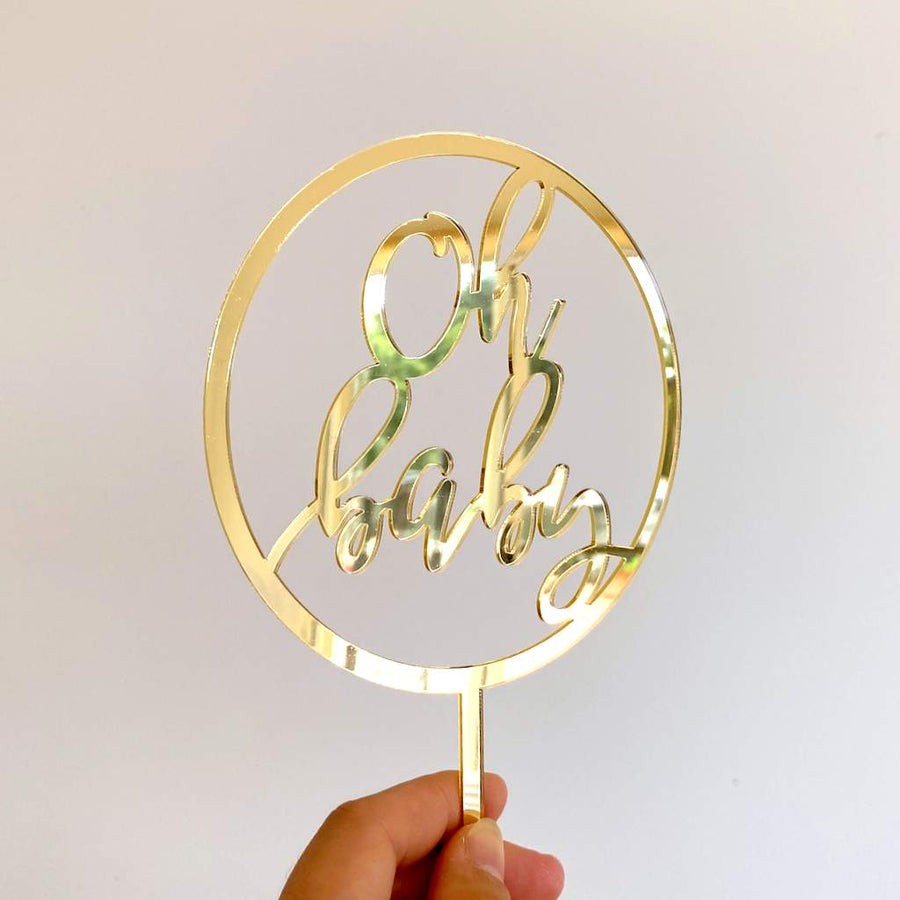 Gold Mirror Acrylic Oh Baby Loop Baby Shower Gender Reveal Cake Topper