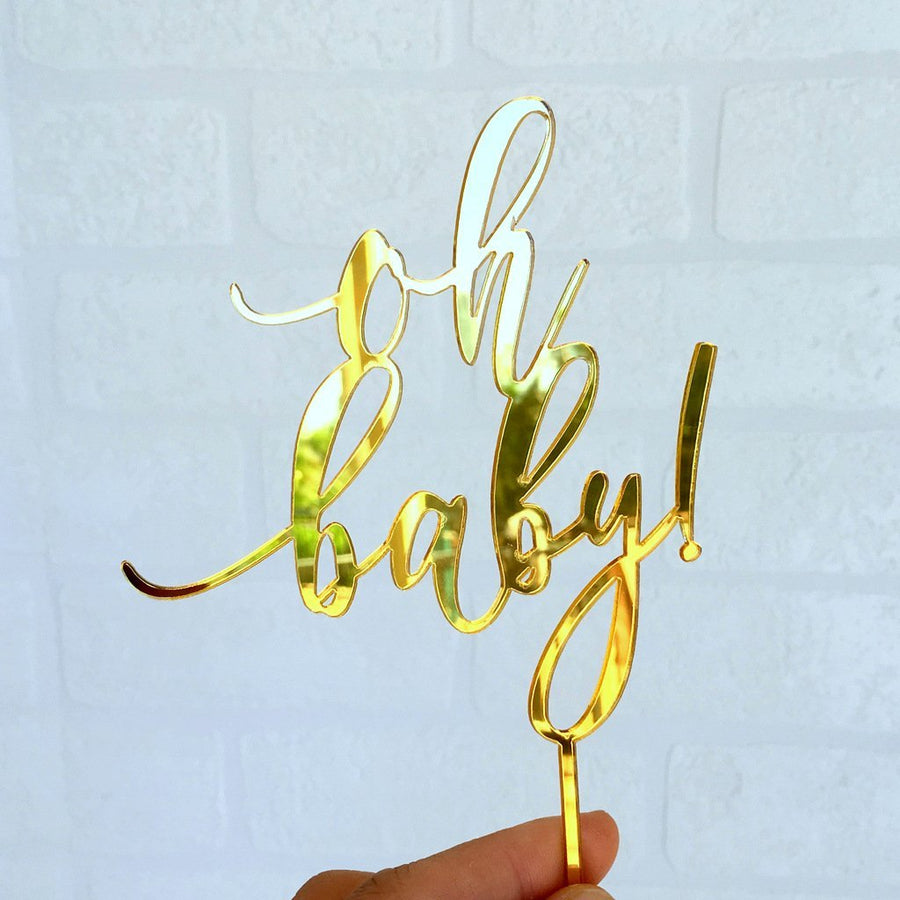 Gold Mirror Acrylic 'oh baby!' Script Baby Shower Cake Topper - Online Party Supplies