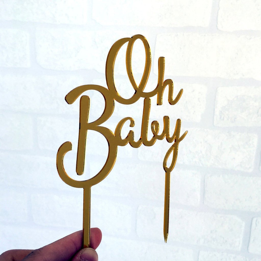 Gold Mirror Acrylic 'Oh Baby' Script Baby Shower Cake Topper - Online Party Supplies