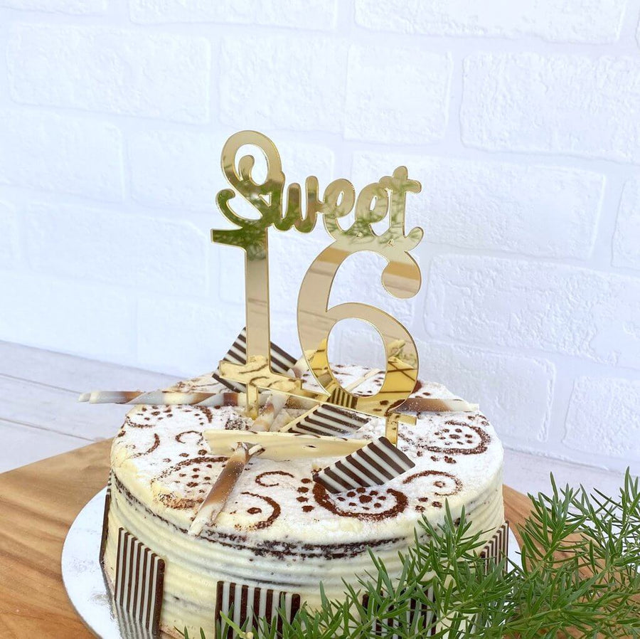 Acrylic Gold Mirror Sweet 16 Cake Topper
