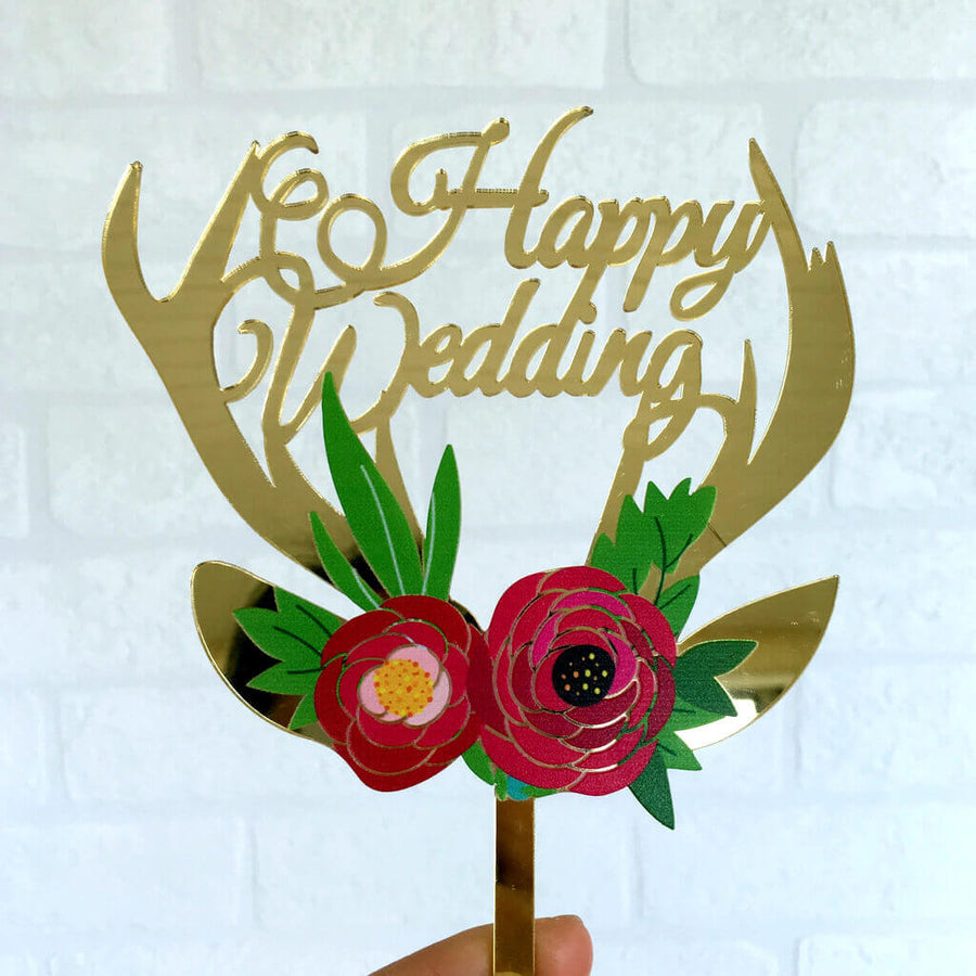 Gold Mirror Acrylic 'Happy Wedding' Floral Antler Cake Topper
