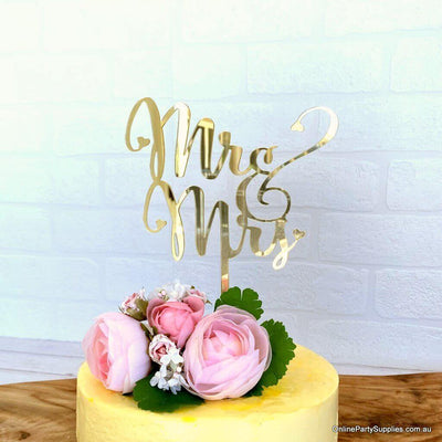 Acrylic Gold Mirror 'Mr and Mrs' Wedding Engagement Bridal Shower Cake Topper Online Party Supplies Australia