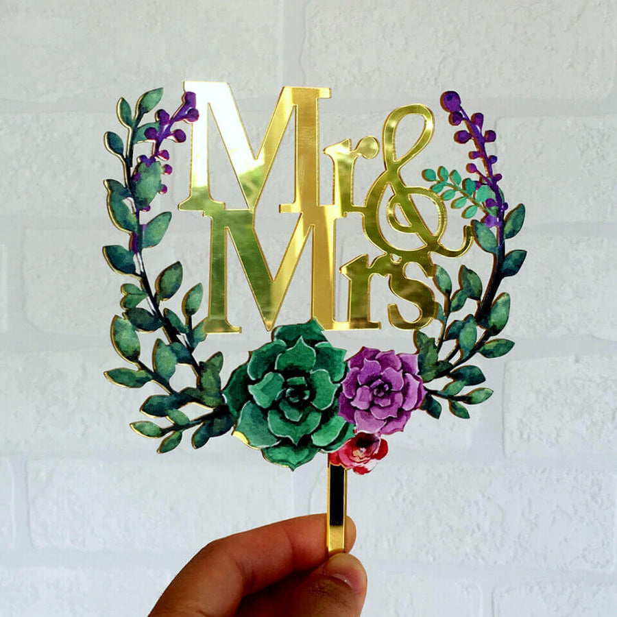 Gold Mirror Acrylic 'Mr & Mrs' Floral Wreath Cake Topper for wedding, bachelorette party, hens party, bridal shower, engagement