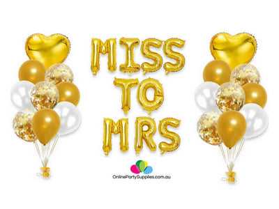 Gold Miss to Mrs Letter Heart Confetti Foil Balloon Bundle - 27 Pieces