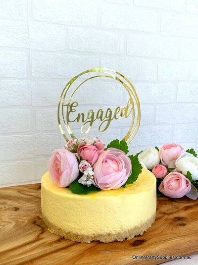 Gold Mirror Acrylic 'Engaged' Geometric Round Cake Topper - Online Party Supplies