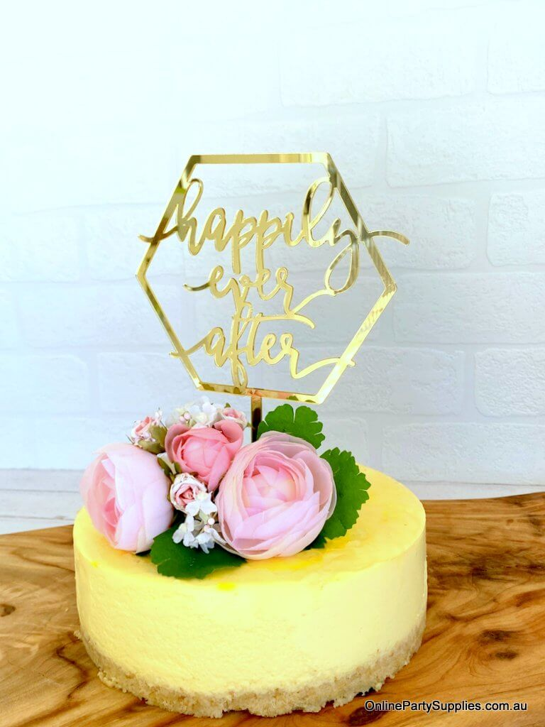 Online Party Supplies Australia Acrylic Gold Mirror Geometric Hexagon 'Happily Ever After' Cake Topper