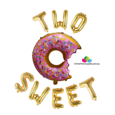 "16"" Two Sweet with 29"" Donut Shaped Foil Balloon Banner - Gold"