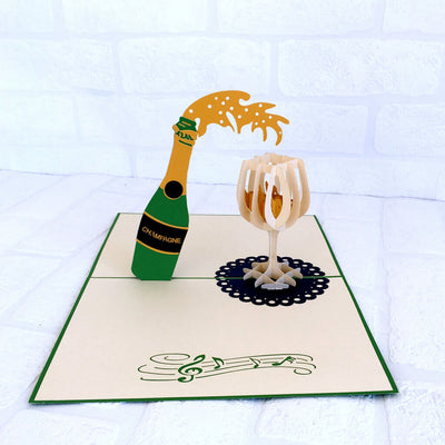 Handmade Champagne Bottle and Glass 3D Pop Up Card - Online Party Supplies