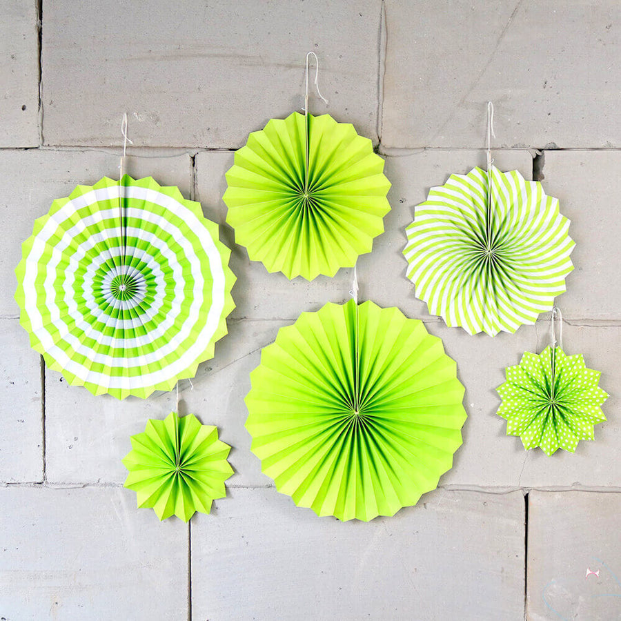 Green Hanging Paper Fan Decorations (Set of 6)