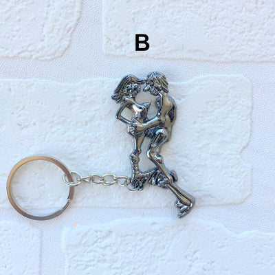 Grey Movable Sex Couple Metal Key Chain - Online Party Supplies