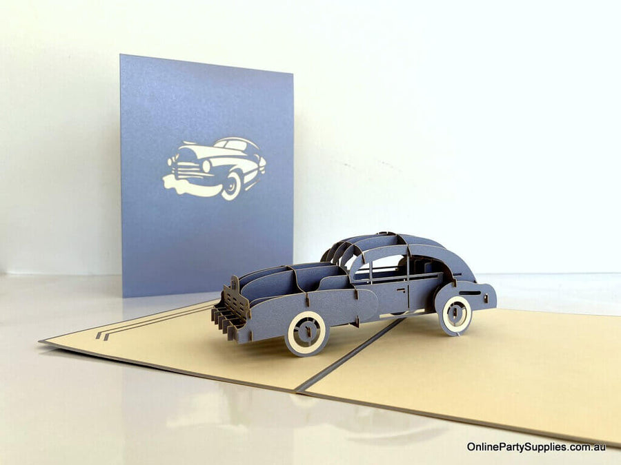Handmade Grey Vintage Car 3D Pop Up Greeting Card - Pop Up Transportation Card