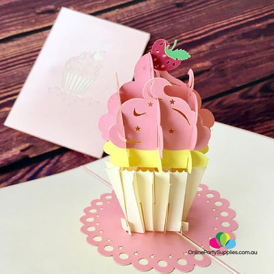 Handmade 11x18cm Cupcake 3D Pop Up Birthday Card - Online Party Supplies