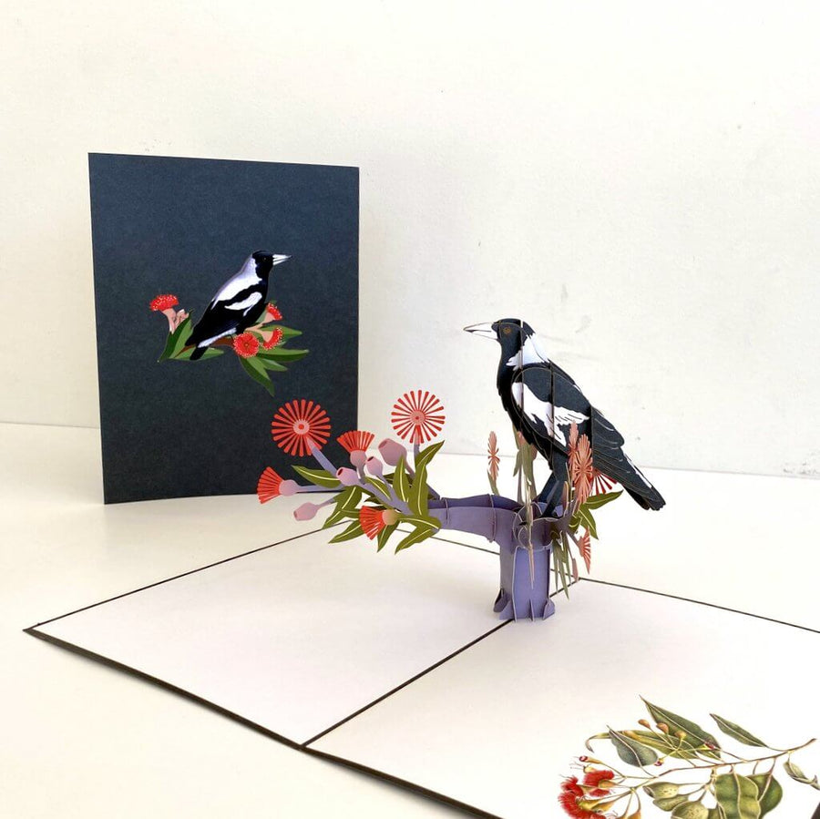 Handmade Australian Native Magpie Pop Up Card