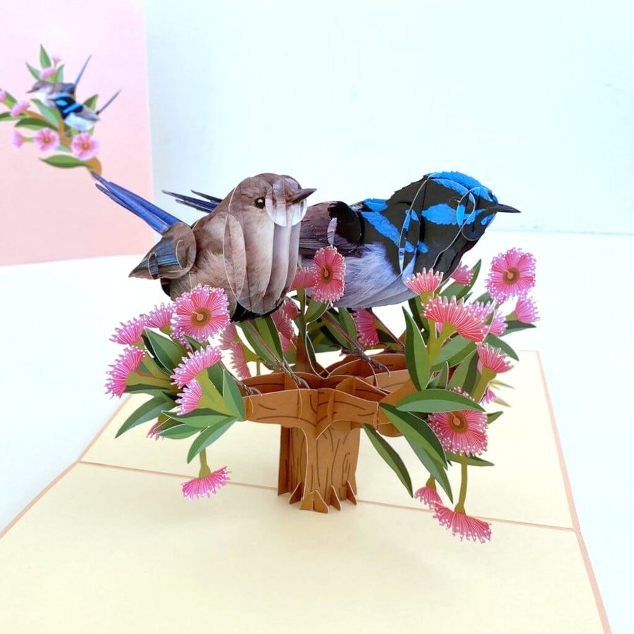 Australian Native Lovebird Couple Superb Fairy Wren Pop Up Card