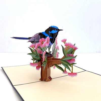 Handmade Australian Native Superb Blue Fairy Wren 3D Pop Up Greeting Card - Australian Native Bird Pop Up Cards - Cards for Bird Lovers