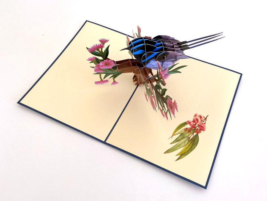 Australian Native Superb Blue Fairy Wren Pop Up Card